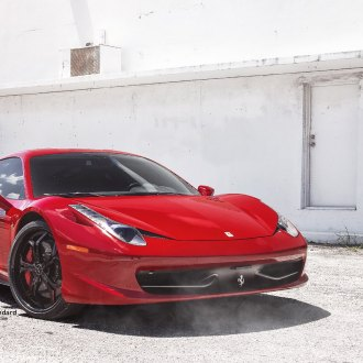 Red Ferrari 458 With Crystal Clear LED Headlights   Photo By Vellano