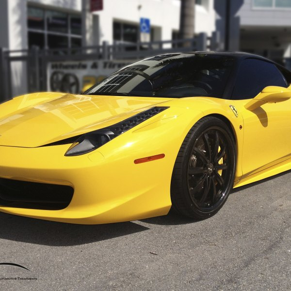 Custom Yellow Ferrari 458 With Dark Smoke Headlights   Photo By Vellano