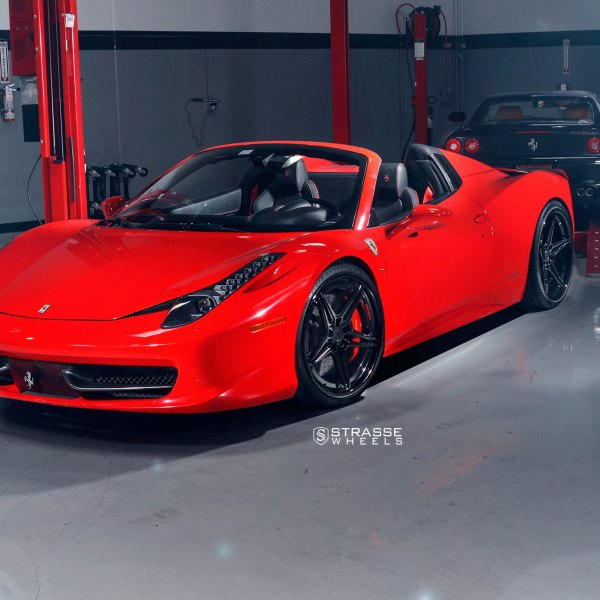 Dark Smoke Headlights On Red Convertible Ferrari 458   Photo By Strasse  Forged