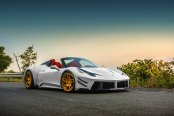 Gorgeous White Convertible Ferrari 458 Sitting on Gold Rims