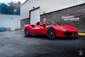 Elegant and Upscale Red Ferrari 488 Convertible Rocking Vossen Wheels