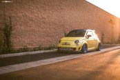 Yellow Fiat 500 Abarth Gets Distinctive Look with Blue Avant Garde Wheels