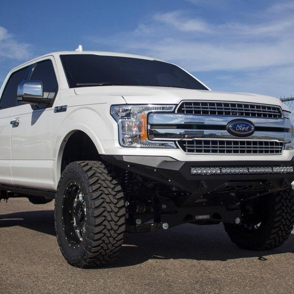 White Lifted Ford F-150 with Fabtech Off-Road Front Bumper - Photo by Addictive Desert Designs