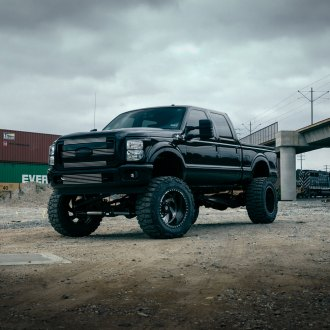 Blacked Out Ford F350 Super Duty Sitting on Huge Fuel Off-road Wheels