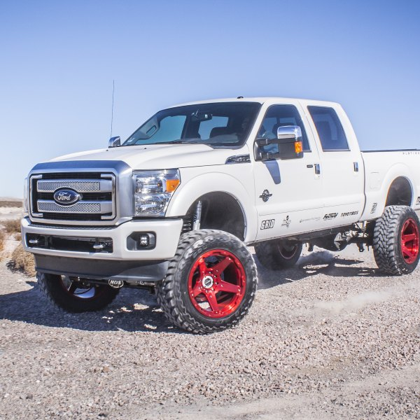 White Lifted Ford F-350 with Chrome Mesh Grille - Photo by Grid Off-Road