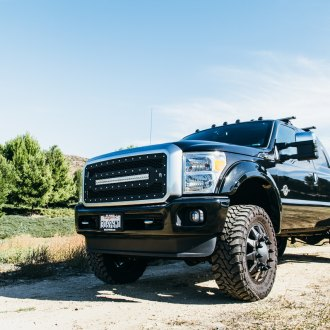 Custom Mesh Grille on Black Lifted Ford F-350 - Photo by Rebel Off-Road