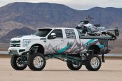 Radical Off-Road Design and Custom Graphics for Lifted Ford F-350 and Snowmobile