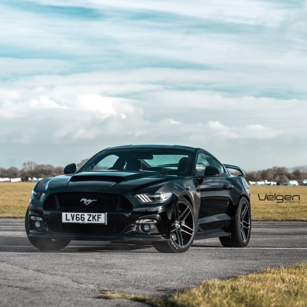 Front Bumper with Fog Lights on Black Ford Mustang - Photo by Velgen