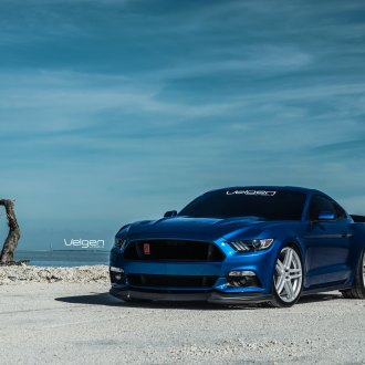 Blue Ford Mustang with Aftermarket Front Lip - Photo by Velgen