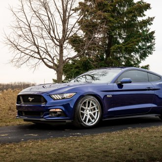Dark Blue Ford Mustang Enhanced with Projector Headlights and Rohana Rims