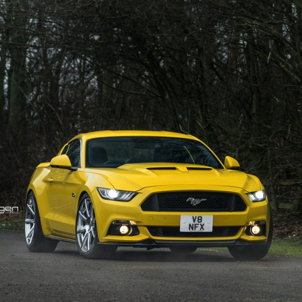 Custom Vented Hood on Yellow Ford Mustang - Photo by Velgen