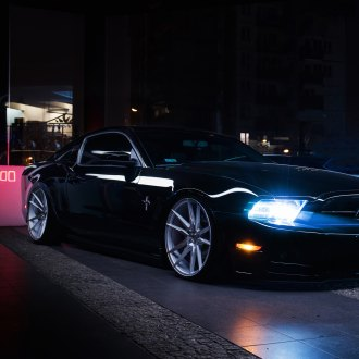 Black Ford Mustang with Crystal Clear Headlights - Photo by JR Wheels