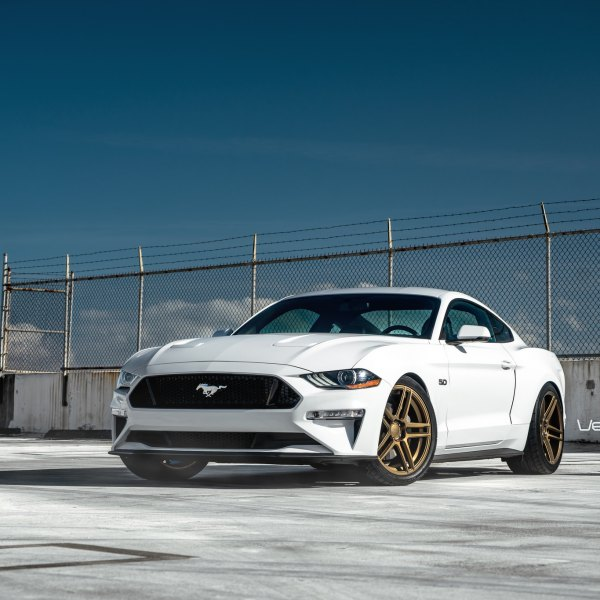 Blacked Out Mesh Grille on White Ford Mustang - Photo by Velgen Wheels