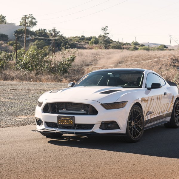 White Ford Mustang with Custom Front Bumper Lip Spoiler - Photo by TSW Alloy Wheels
