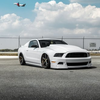 Dark Smoke Headlights on White Stanced Ford Mustang - Photo by Vossen
