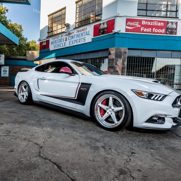 White Ford Mustang 5.0 on Continental Tires - Photo by Vossen