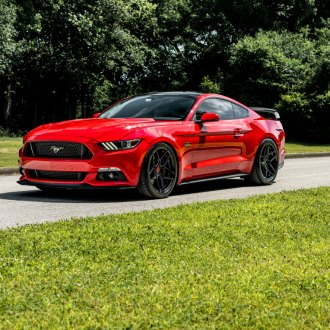 Epic Red Ford Mustang Rolling on Glossy Black Rohana Wheels