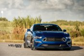 Velgen Forged Wheels Enhancing Look of Blue Ford Mustang