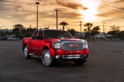 Candy Red GMC Sierra on DUB Spinners Wheels