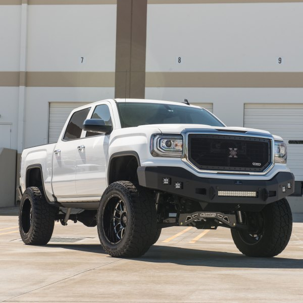 T-Rex Mesh Grille on White Lifted GMC Sierra - Photo by Black Rhino Wheels