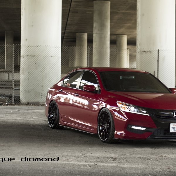 Red Honda Accord With Custom Projector Headlights Photo By Blaque Diamond Wheels