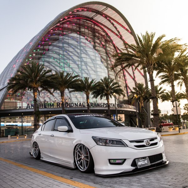 White Stanced Honda Accord With Aftermarket Front Per Photo By Vertini Wheels