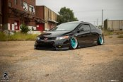 Exotic Blue Avant Garde Rims Enhancing Custom Stanced Honda Civic Si