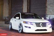 Custom White Honda Boasting Contrasting Black Roof and Vossen Rims