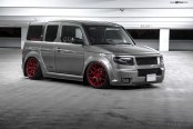 Gray Honda Element Taken to Another Level with Custom Body Kit and Matte Red Wheels
