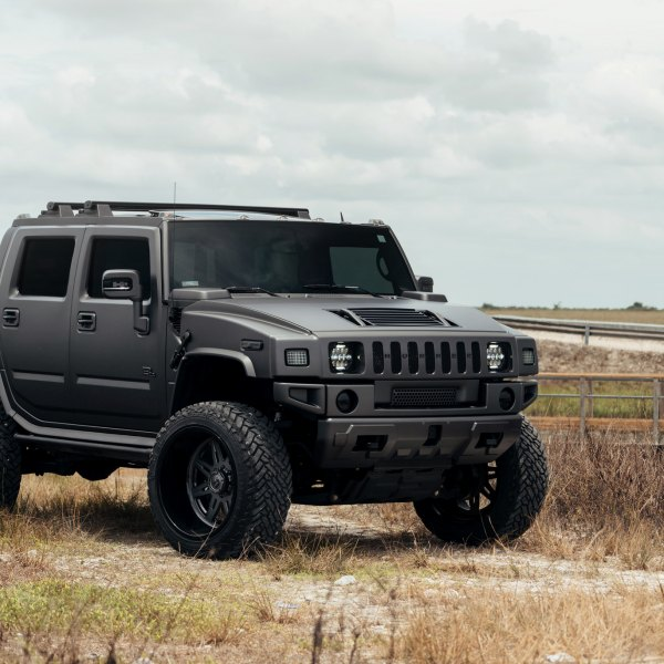 Black Matte Hummer H2 With Custom Vented Hood Photo By Fuel Offroad