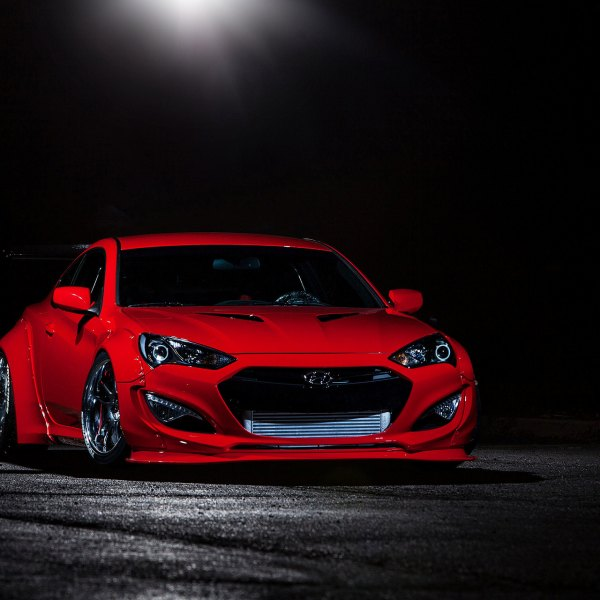 Red Hyundai Genesis Coupe With Custom LED Headlights   Photo By Blood Type  Racing Inc