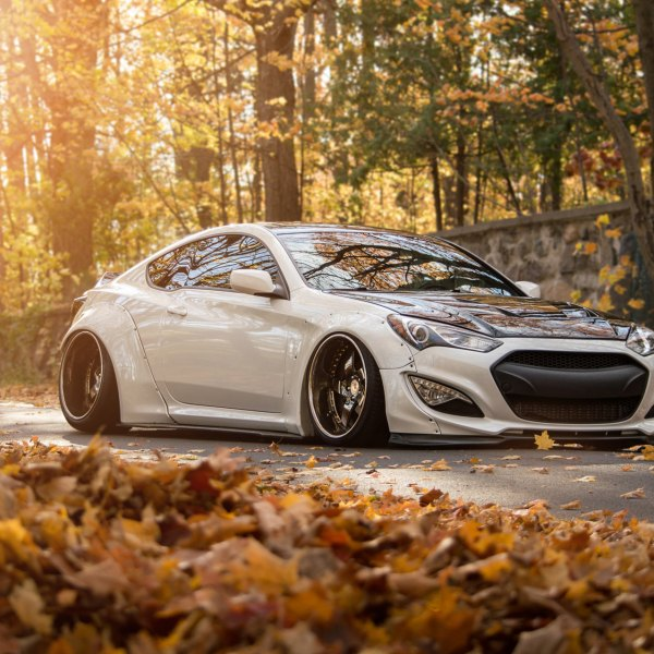 White Hyundai Genesis Coupe With Liberty Walk Body Kit Photo By Avant Garde Wheels