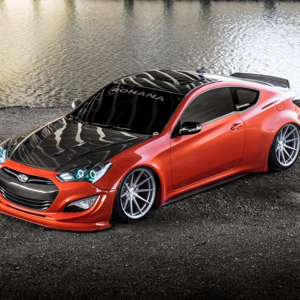 Carbon Fiber Hood on Red Hyundai Genesis Coupe - Photo by Rohana Wheels