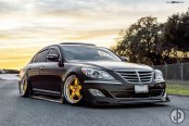 Dramatic Look of Black Stanced Hyundai Genesis on Gold Rims