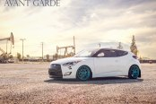 Eye- Catching Colors Combo: White Hyundai Veloster with Blue Avant Garde Wheels
