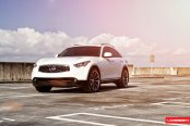 VIP Appearance of White Infiniti FX35 with on Vossen Wheels