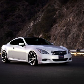 infiniti g37 white with black rims. pearl white infiniti g37 boasting forged rims by vossen with black