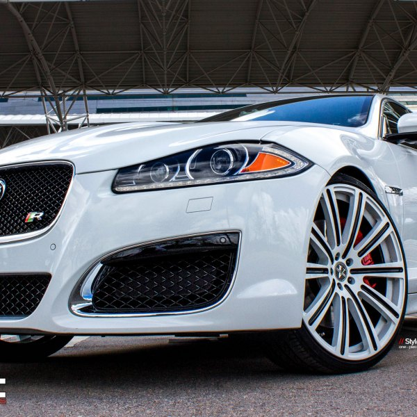 Chrome Mesh Grille On White Jaguar XF   Photo By Vellano