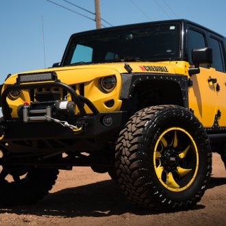 Bossy Yellow Lifted Jeep Wrangler Shod in Grid Off-Road Wheels