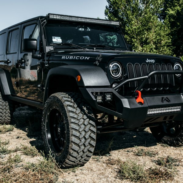 Fab Fours Bumper With LED Lights On Black Jeep Wrangler   Photo By Rebel  Off