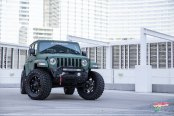 Lifted Jeep Wrangler Gets a Distinct Look with Matte Green Wrap and Off-Road Parts