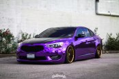 Slammed Kia Cadenza with Purple Chrome Vinyl Wrap