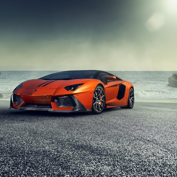Orange Lamborghini Aventador With Carbon Fiber Front Bumper   Photo By  Vorstiner