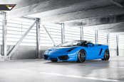 Blue Brake Caliper Complementing Custom Convertible Lamborghini Gallardo
