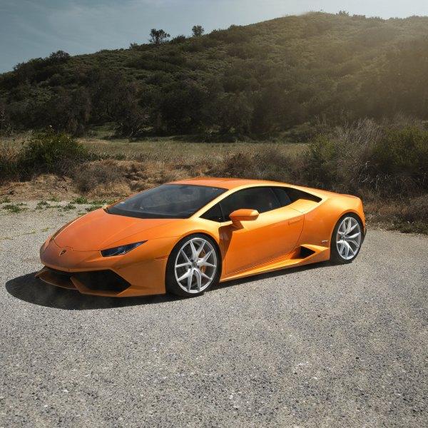 Dark Smoke Headlights On Orange Lamborghini Huracan   Photo By Zito Wheels