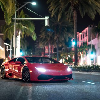 Crystal Clear Headlights On Red Lamborghini Huracan   Photo By Blaque  Diamond Wheels