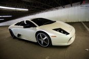 White Pearl Lamborghini Murcielago Dressed Up in Aftermarket Parts and Forged Rims