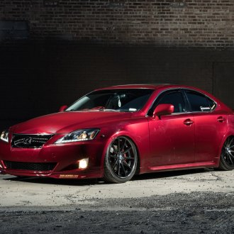 Front Bumper with Fog Lights on Red Lexus IS - Photo by Rohana Wheels