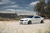 Stanced White Lexus LS Gets Distinctive Looks with Black Avant Garde Wheels