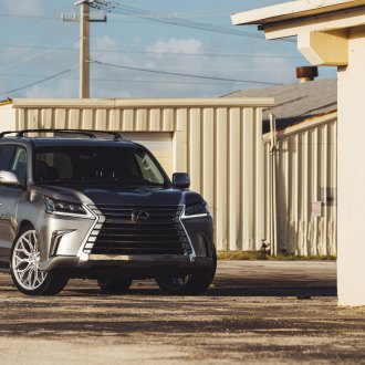 Gray Lexus LX with Aftermarket LED Headlights - Photo by Vossen